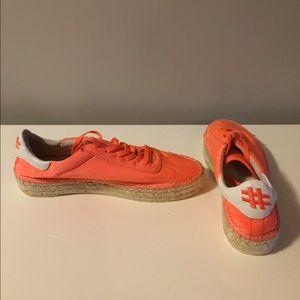 Kendall + Kylie neon orange espadrille sneakers 9